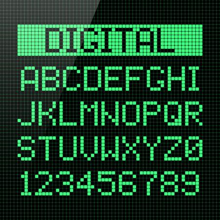 デジタル フォント、アルファベットと数字  イラスト・ベクター素材