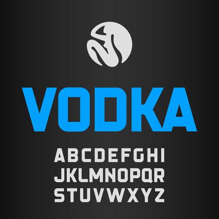 vodka bottle: Vodka label, modern style font Illustration