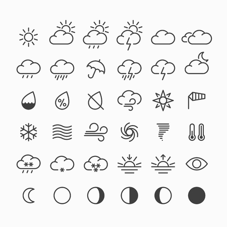 partly sunny: Set of thin line weather icons