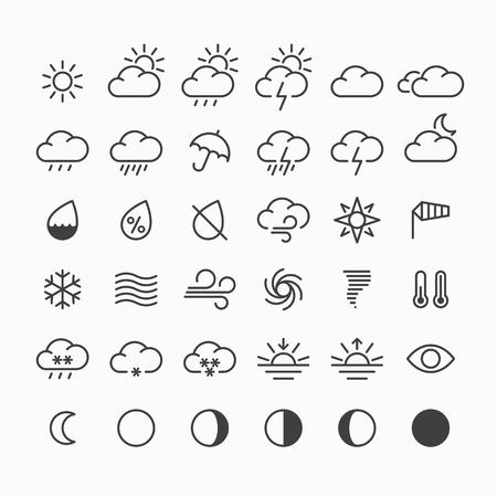 Set van dunne lijn weer pictogrammen Stockfoto - 49822571