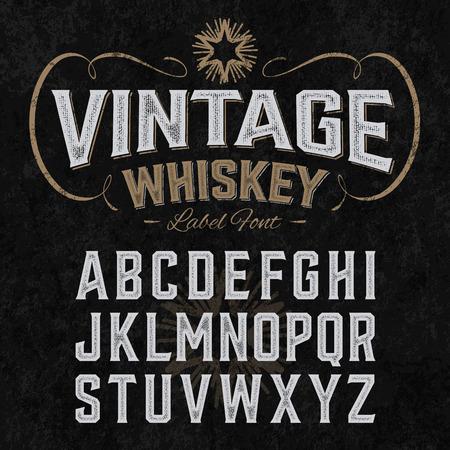 Vintage whiskey label lettertype met sample design. Ideaal voor elk model in vintage stijl.