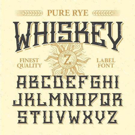 Whiskey club vintage style label font with sample design ideal whiskey label vintage font with sample design ideal for any design in vintage style altavistaventures Gallery