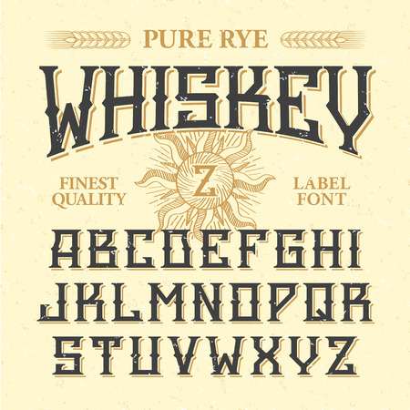 whiskey bottle: Whiskey label vintage font with sample design. Ideal for any design in vintage style.