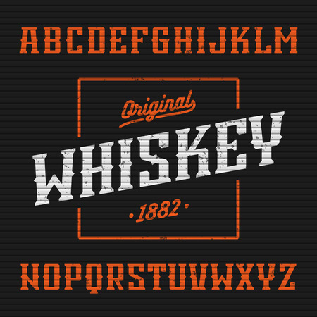 bourbon: Whiskey label, western style font with sample design