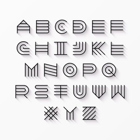 le style mince ligne, la police moderne majuscule linéaire, police de caractères, l'alphabet latin avec effet d'ombre élément de design