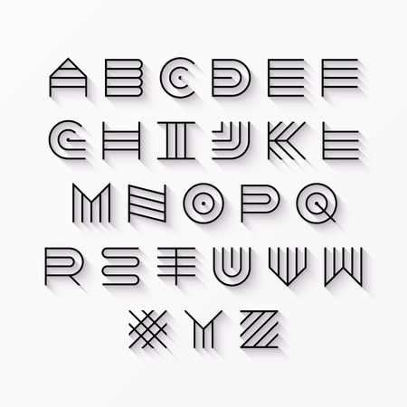 english alphabet: Thin line style, linear uppercase modern font, typeface, latin alphabet with shadow effect design element Illustration