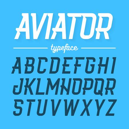 Aviator typeface, modern style font Illustration