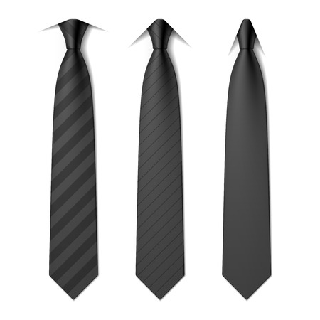 Black business neck ties with spread, semi-spread and point collars