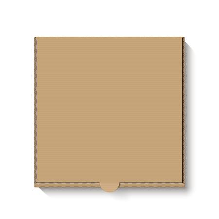茶色ダン ボール ピザ箱、トップ ビュー  イラスト・ベクター素材