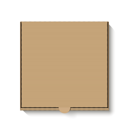 cardboard: Brown cardboard pizza box, top view