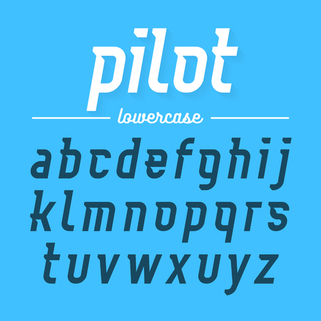 alphabetical letters: Pilot, modern font lowercase letters Illustration