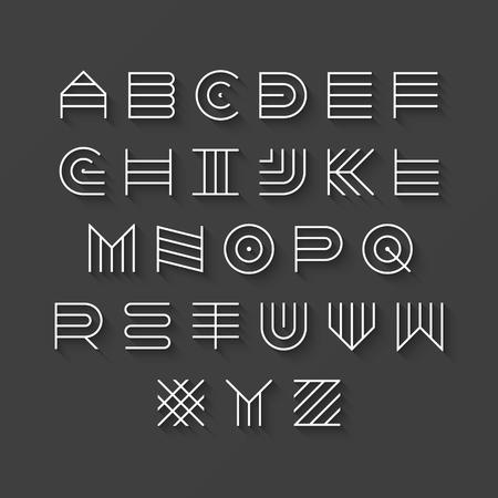latin alphabet: Thin line style, linear uppercase modern font, typeface, latin alphabet with shadow effect