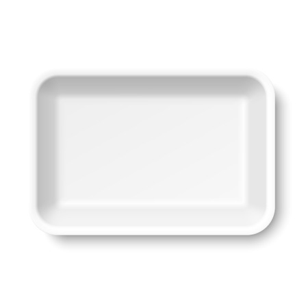 White empty food tray