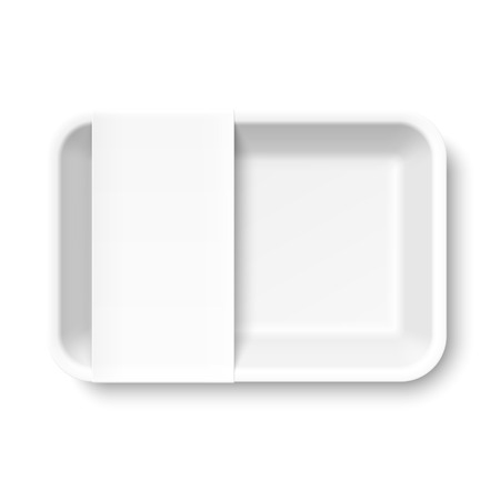 take away: White empty food tray with blank label Illustration