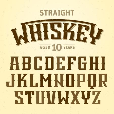 fuente de la etiqueta whisky puro con diseño de la muestra. Ideal para cualquier diseño de estilo vintage Ilustración de vector