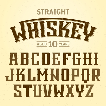 Straight whiskey label font with sample design. Ideal for any design in vintage style Illustration