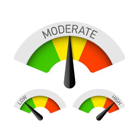 manómetros de baja, moderada y alta Ilustración de vector
