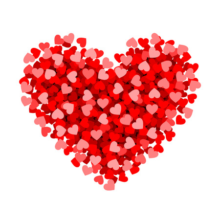 dating icons: Red heart made of small, Valentines day card element