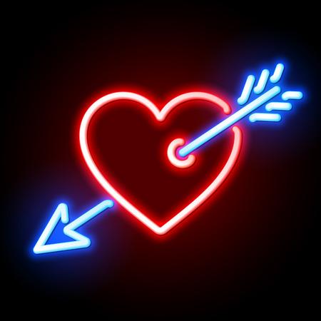 Red heart pierced by Cupids arrow neon sign 일러스트