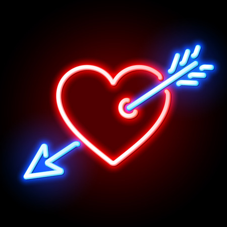 Red heart pierced by Cupids arrow neon sign Illustration