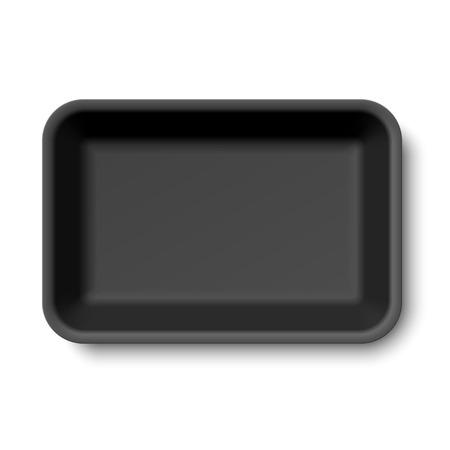 Black empty styrofoam food tray