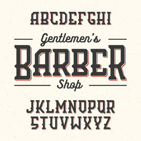 old english letter alphabet: Gentlemans Barber Shop vintage style font