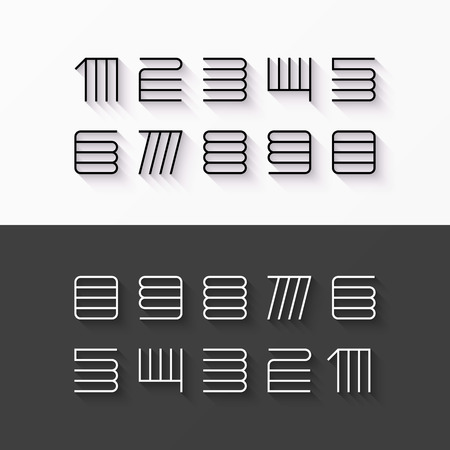 numbers: Thin line style, linear modern font numbers with shadow effect Illustration