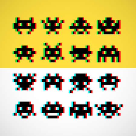 space invaders: Pixel little retro monsters