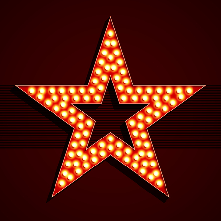 Broadway style light bulb star shape Stock Illustratie