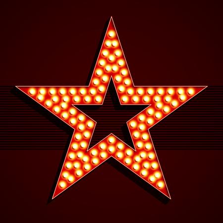 Broadway-Stil Glühbirne Sternform Standard-Bild - 52889587