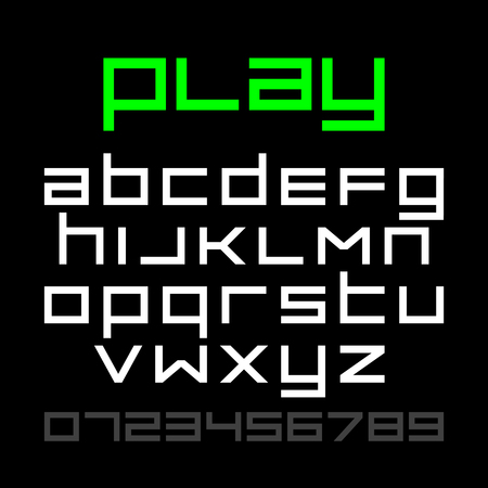old style: Old style video game font, alphabet and numbers