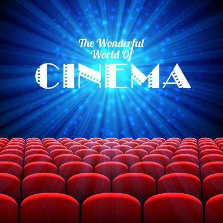 Cudowny świat kina, tło wektor z ekranem i czerwonymi siedzeniami