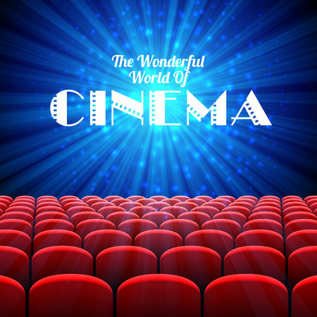wide screen: The Wonderful World Of Cinema, vector background with screen and red seats