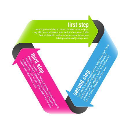 consecutive: Three steps process arrows