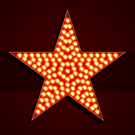 Broadway style light bulb star shape illustration Çizim