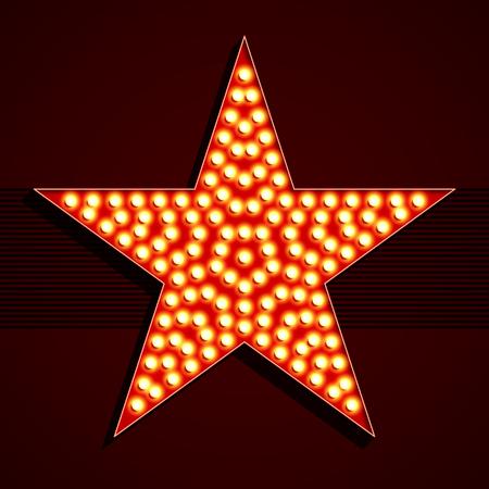 cabaret stage: Broadway style light bulb star shape illustration Illustration