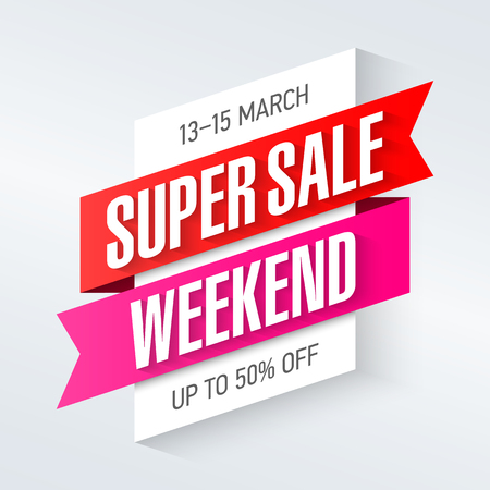 sale tags: Super Sale Weekend special offer poster, banner background, big sale, clearance.