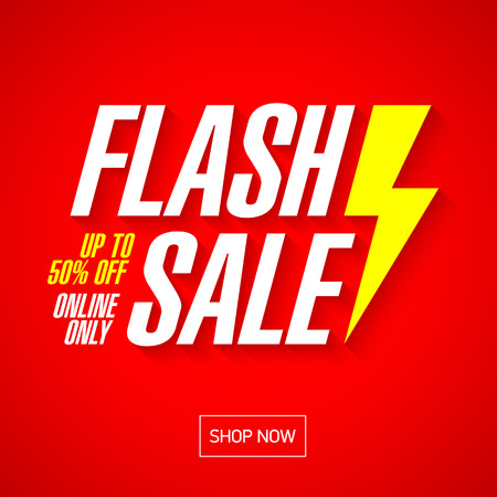 플래시 판매 밝은 배너 또는 포스터. 어느 날 큰 판매, 특별 제공, 통관. 벡터.