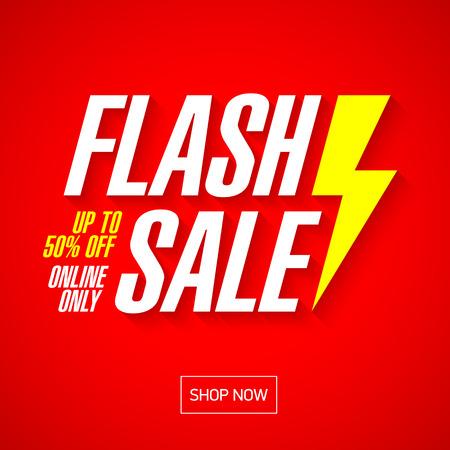 Vente flash bannière lumineuse ou une affiche. Un jour grande vente, offre spéciale, débarras. Vecteur. Vecteurs
