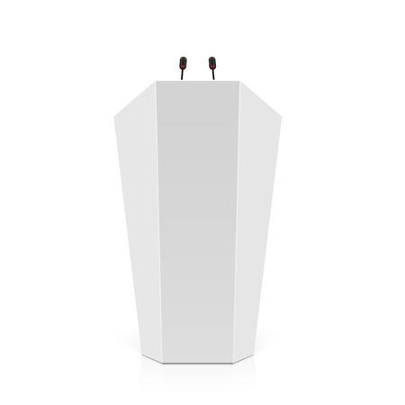rostrum: White rostrum, podium, tribune with microphones Illustration