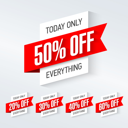 only: Today only, one day super sale banner. One day deal, special offer, big sale, clearance.