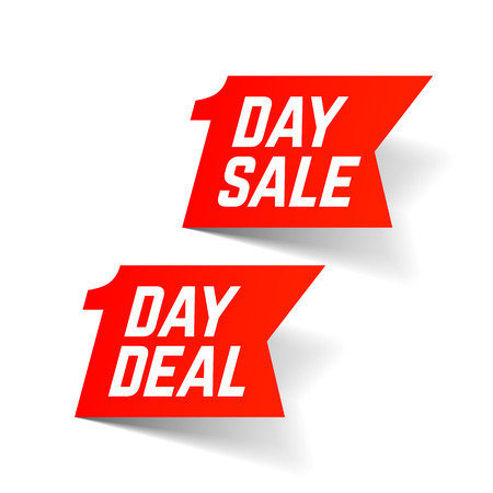 One Day Sale and Deal signs. Big Super sale, special offer, clearance Illustration