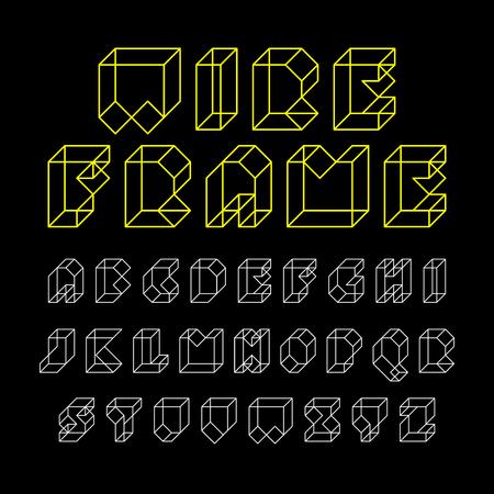 3d wireframe font, alphabet