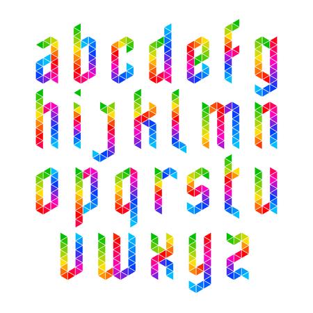 Colorful geometric alphabet, lowercase letters Illustration