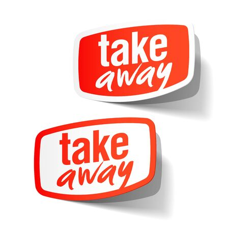 chinese take away container: Take Away service sign, label
