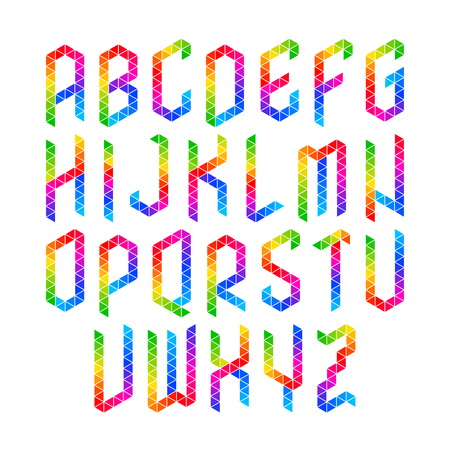 uppercase: Colorful geometric alphabet, uppercase letters Illustration