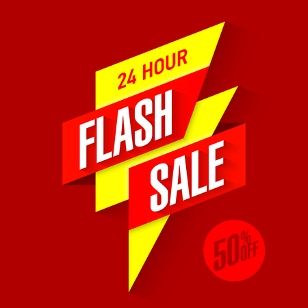sales: 24 hour Flash Sale bright banner Illustration