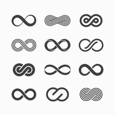 Infinity symbool pictogrammen Stock Illustratie