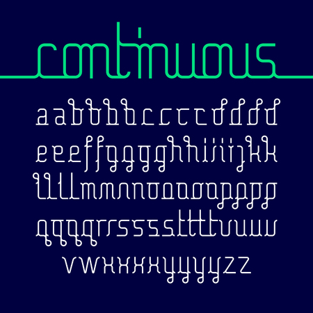 single line: Continuous line font with with different letters Illustration
