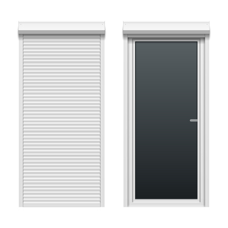 security shutters: Door with rolling shutters, close and open.